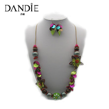 Dandie Fashion Flower Design Handmade Necklace With Wooden Bead And Multicolor Shell, Bohemia Style Jewelry Set