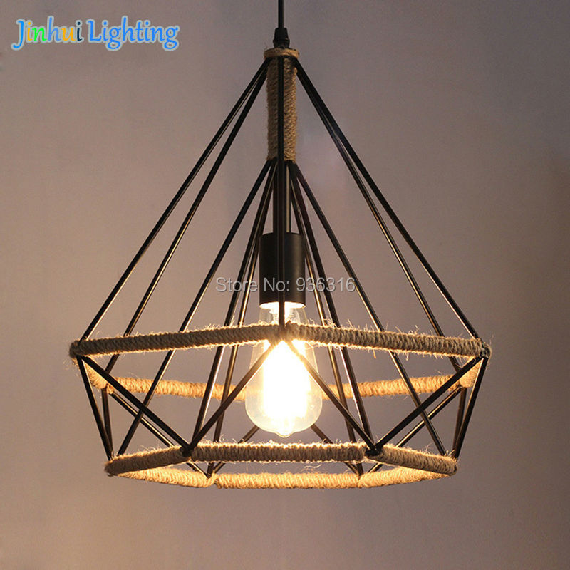 dia.25cm*H26cm loft industrial mini wrought iron hand made hemp rope diamond pendant lights for canteen,bar,cloth shop ceiling