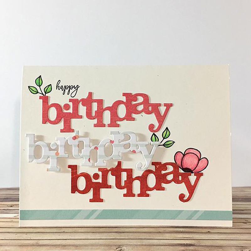 1pcs Cutting Dies Happy Birthday Scrapbooking Paper Cards Embossing Stencils New