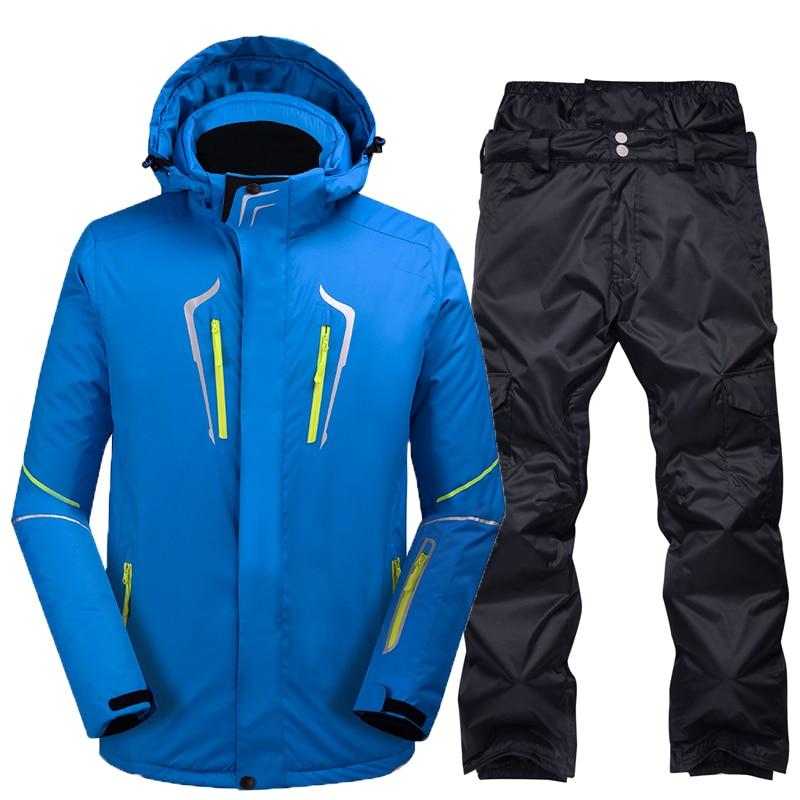 Combinaison de Ski Mâle Coupe-Vent Imperméable Épaissir Neige Vêtements Pour hommes Snowboard Veste Pantalon Costume D'hiver Ski Manteau Pantalon - 5