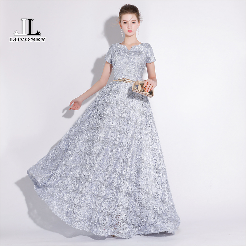 LOVONEY New Arrival   Evening     Dress   Long V Neck Formal Party   Dress   Women Special Occasion   Dresses     Evening   Gown with Belt YS420