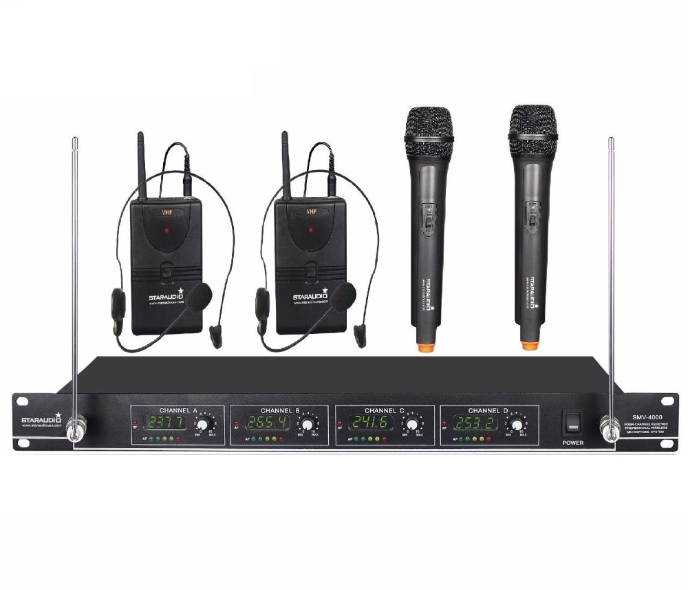 staraudio smv 4000a b pro vhf wireless handheld and lapel headset microphone stage church club. Black Bedroom Furniture Sets. Home Design Ideas