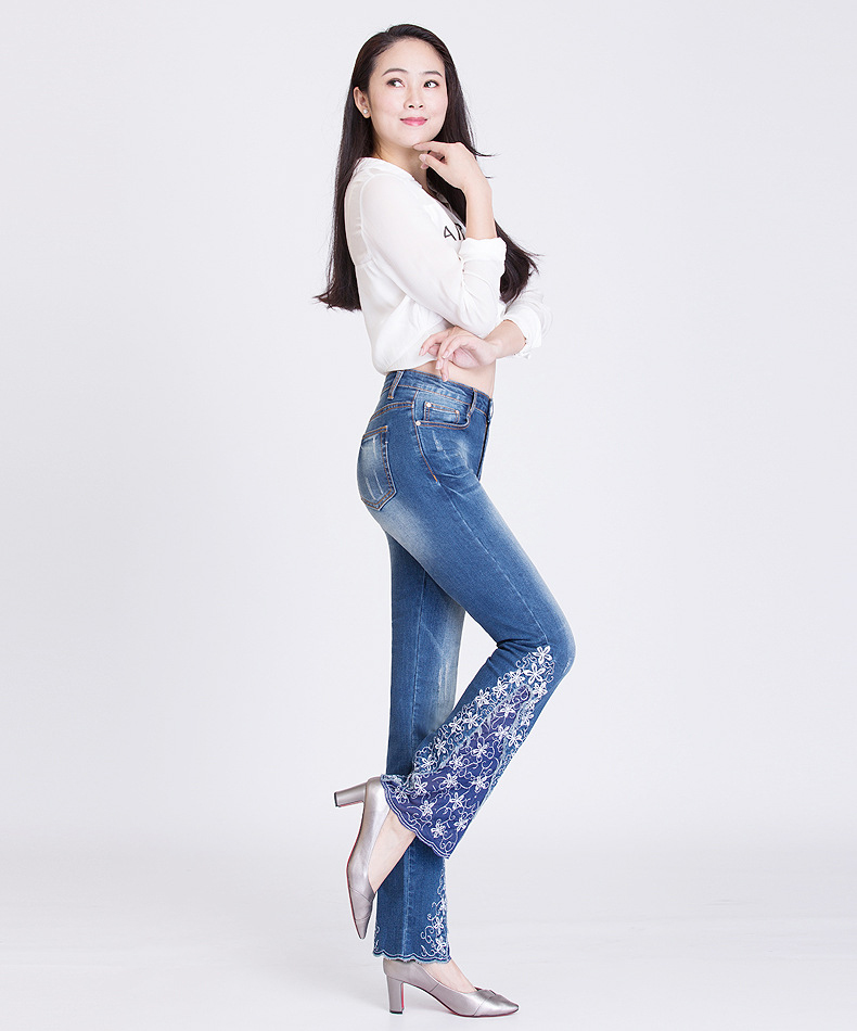 KSTUN FERZIGE New Jeans Woman Embroidered Trousers Lace Bell Bottoms Design Light Blue Stretch High Waisted Jeans Sexy Ladies Mujer 36 18
