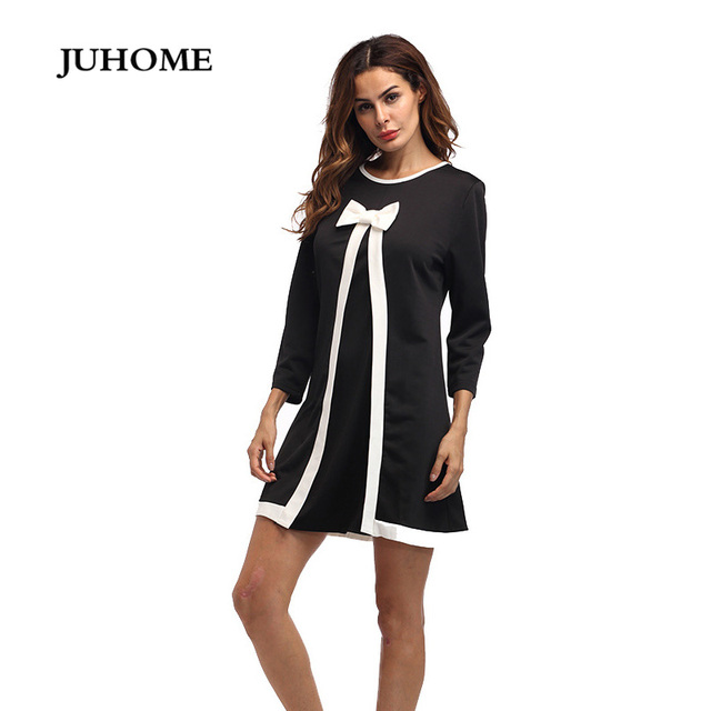 998114f43197e 2018 new style high quality clothes long sleeve autumn winter thick warm  black dress elegant robe