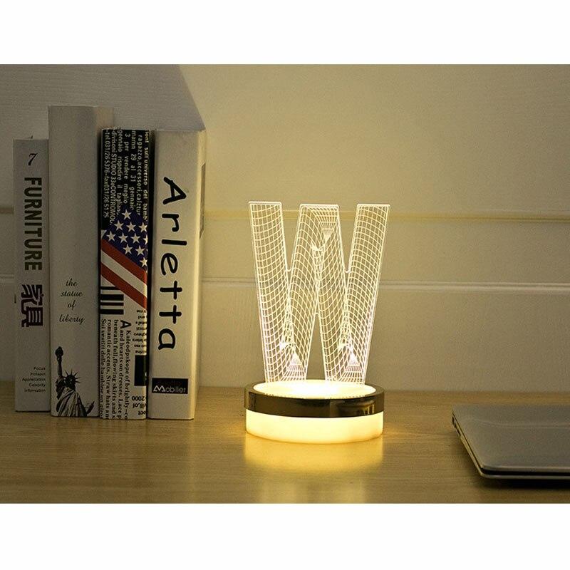 1bdebbd57e9ff7 Nouveauté éclairage Lettre W 3D LED Lampe bébé nuit lumière decorationg  chambre luminaria usb Lampe de table pour enfants