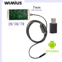 Wimius 7mm Android Endoscope USB Cable Focus Digicam 5M/7M Waterproof Full LED HD Inspection Mini Digicam Borescope for Telephone PC