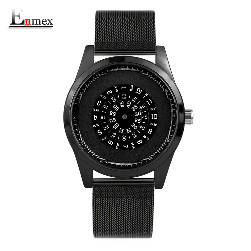 Enmex neutral special design wristwatch Rotating number creative design Stainless steel band cool fashion quartz clock watches 2017 gift enmex the beauty of abstract design wristwatch creative dial stainless steel simple fashion for young peoples watches