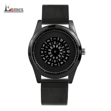 Enmex neutral special design wristwatch Rotating number creative design Stainless steel band cool fashion quartz clock watches