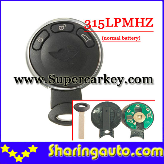 Free shipping 3 Button Remote key Cas Stystem 315LPMHZ For BMW Mini Cooper (1piece)
