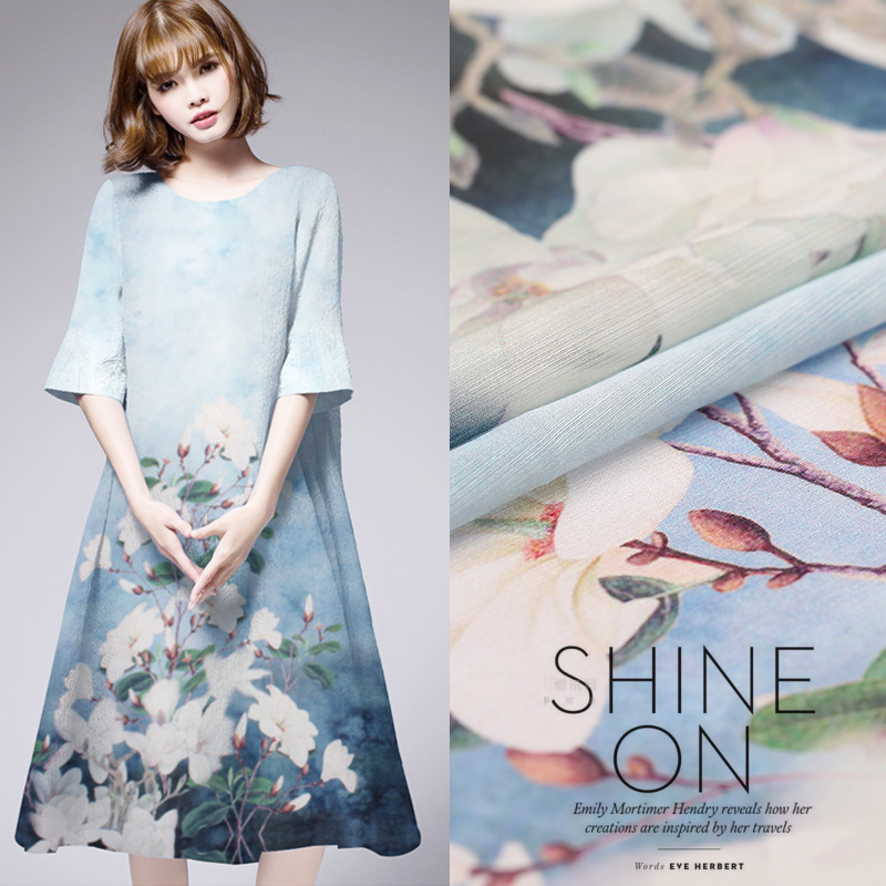 140cm wide 13MM 50% silk&50% linen white flower Digital Print Fabric For Women Dress Clothes Cheongsam Fashion cloth DIY Sewing