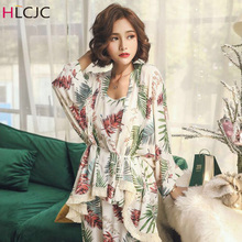 2019 Spring Autumn Long Sleeve Cotton Pajamas Set 3 Pieces Women Sleepwear Sexy Nightwear For Sleeping M-XL