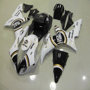 Custom motorcycle article for YZF-R1 2002-2003 YZFR1 02-03 Fairings+Bolts+black white ABS Plastic body kit M2