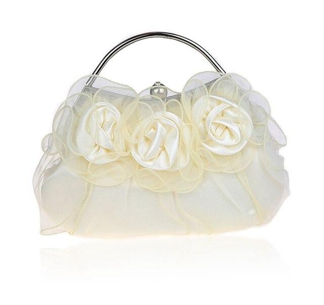 Cream Las Satin Handbag Clutch Bridal Party Wedding Evening Bag Makeup Purse Free Shipping