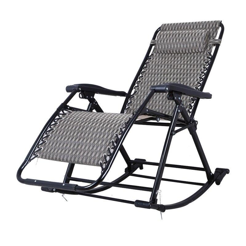 2019 Nieuwe Stijl Draagbare Vouwen Lounge Stoel Comfortabele Relax Schommelstoel Relax Stoel Met Katoen Kussen Dutje Fauteuil 250 Kg Lager Jaarlijkse Koopjesverkoop