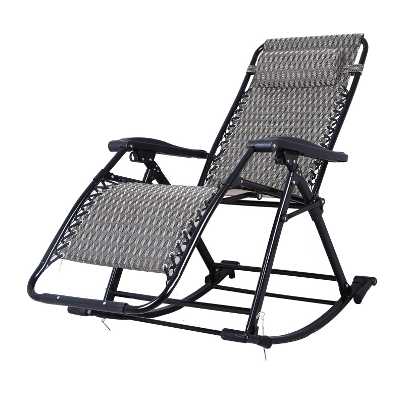 Us 110 93 Portable Folding Lounge Chair Comfortable Relax Rocking Chair Relax Chair With Cotton Fabric Cushion Nap Recliner 250kg Bearing In Chaise