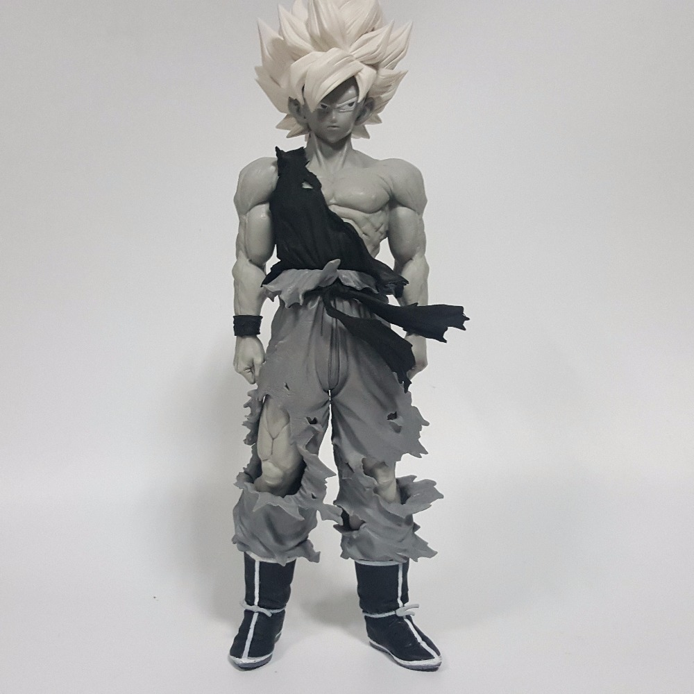 Dragon Ball Z Action Figures Super Saiyan Son Goku Grey Color Anime DBZ Collectible Model Toys 350mm Dragon Ball GT Toy dragon ball z god goku super saiyan led light action figures anime dragon ball z dbz fes god son goku table lamp room decor