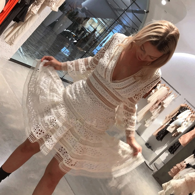 54e50cecdb1fcd 2018 Runway Designer Autumn New Women Dress Vestidos Flare Sleeve Solid  White Hollow Out Deep V