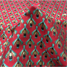 155cm Width Golden Bee Metallic Yarn Dyed Red Polyester Brocade Jacquard Fabric for Woman Autumn Winter Dress Coat Sewing-AF710