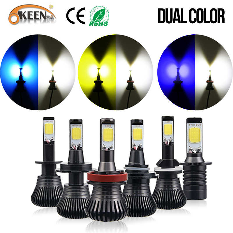 OKEEN H1 Led H3 H7 H11 H8 9005 9006 HB3 HB4 H27 880 881 H16 Car Headlight Bulb Dual Color White Amber Blue Ice Blue 12v Fog Lamp
