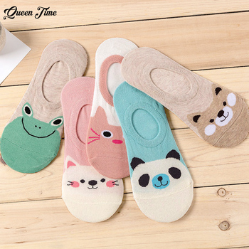 5 Pairs/lot Women Socks Candy Color Small Animal Cartoon Pattern Boat Sock Suit for Summer Breathable Casual Girls Funny Sock N