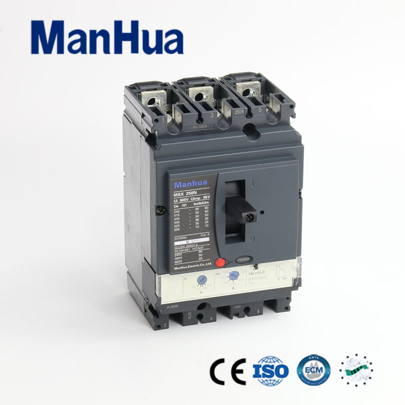 Manhua CB CE Certificated Breaking Capacity Adjustable 250A 3P MSX-250N Moulded Case Circuit Breaker 400a 3p 220v ns moulded case circuit breaker