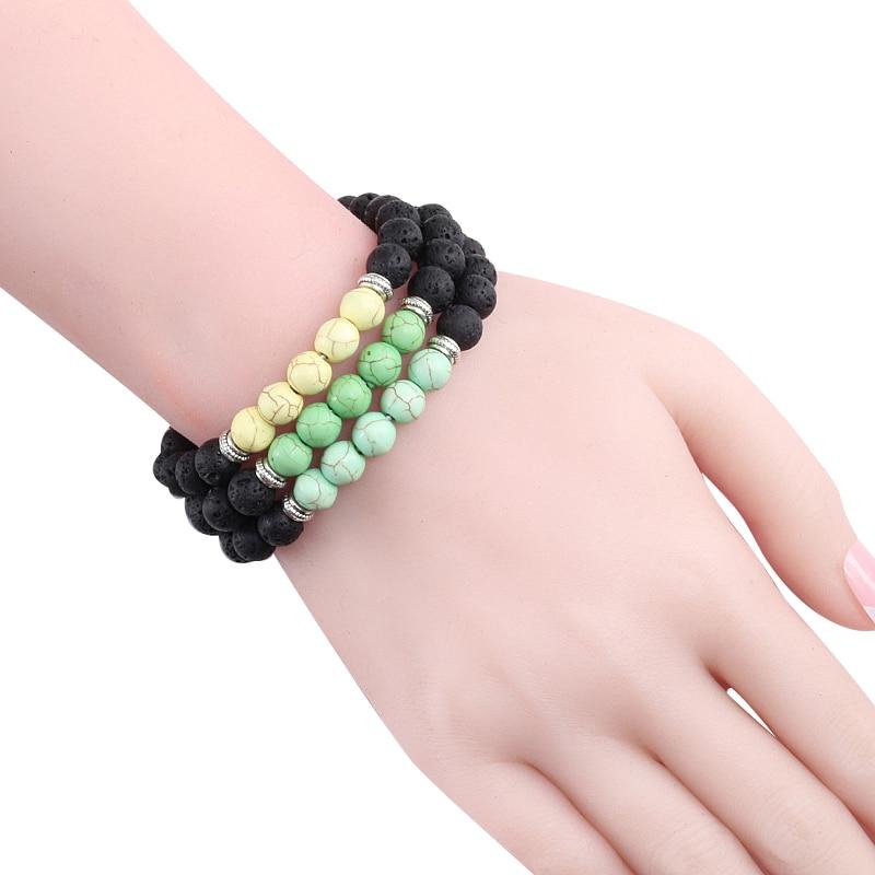 Natural Volcanic Stone Bracelets Charm Women Chakra Balance Beads Men Black Lava Turquoises Strand Bangle Fashion Buddha Jewelry 3