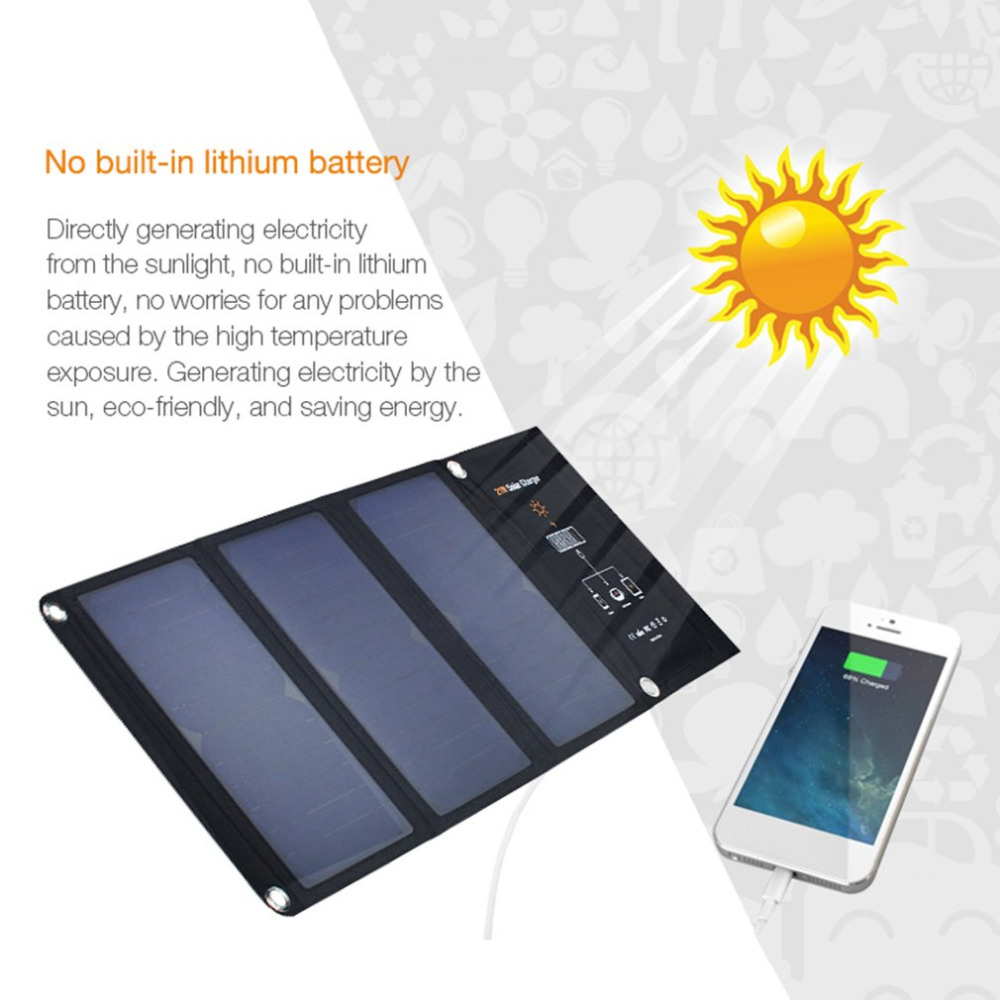 Outdoor Solar Charging Bag Solar Panel USB Charging Battery 21W Waterproof Foldable Outdoor Charger Foldable For Smart Phones