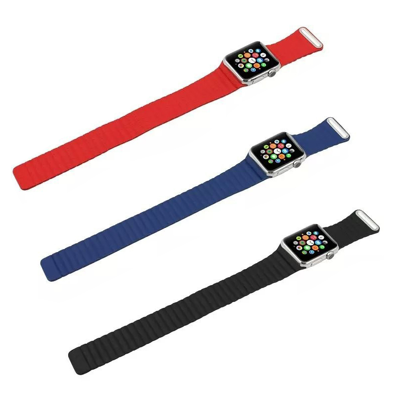 1 pieces Leather Loop Design Band With Connector Adapter For Apple Watch 38 42 MM Strap For iPhone Watch Sports Accessories