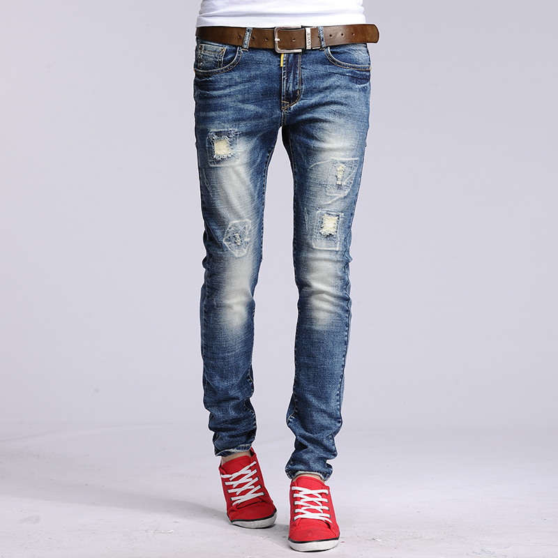 Wholesale retail new brand hole ripped skinny jeans Frayed Men straight slim denim ripped straight Slim