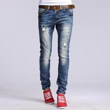 Оптовая и розничная новые марка дыру разорвал узкие джинсы Потертые Мужчины прямо тонкий джинсовые разорвал прямые Тонкий байкер брюки # YZ6616