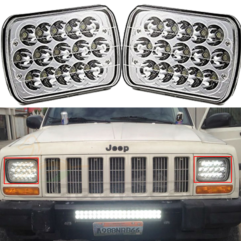 Pair 7x6inch LED Headlights 27450C Of Rectangular 5X7 For Ford Van Jeep XJ YJ H4 High Low Beam Headlight 5 x 7 Led 1 pair 7 inch rectangular led headlight