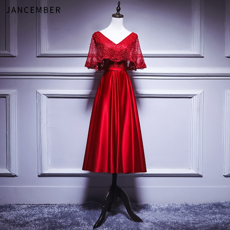 JANCEMBER Red Cocktail Dress Short Sleeve V Neck Zipper Satin Short Version Formal Party Dress Robe De Cocktail 2019