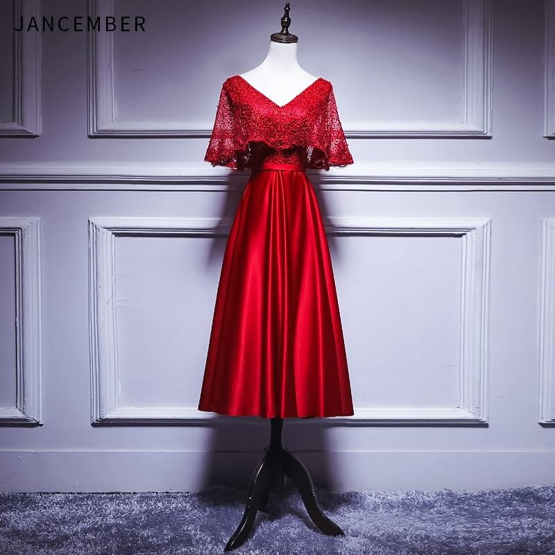 JANCEMBER Red   Cocktail     Dress   Short Sleeve V Neck Zipper Satin Short Version Formal Party   Dress   robe de   cocktail   2019