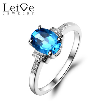 Leige Jewelry 925 Sterling Silver Swiss Blue Topaz Ring Oval Cut Gemstone Birthstone Promise Engagement Wedding Rings for Women