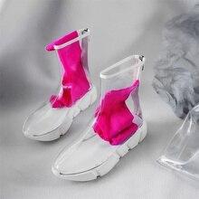 bd21feff71318f Mode femmes bottes Transparent femmes bottes courtes pour femmes Mujer  femmes Chelsea bottes printemps automne blanc