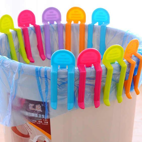 2 PCS Trash Distribuidor do Saco De Plástico Clipes Baggy Titular Lixo Cesta de Lixo de Lixo Bin Pode Braçadeira Clipe Fixo Titular Clips