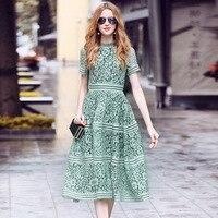 Self Portrait Dress 2018 Summer Women High Quality Elegant Slim Pink/Green Hollow Out Lace A line Midi Dress vestidos