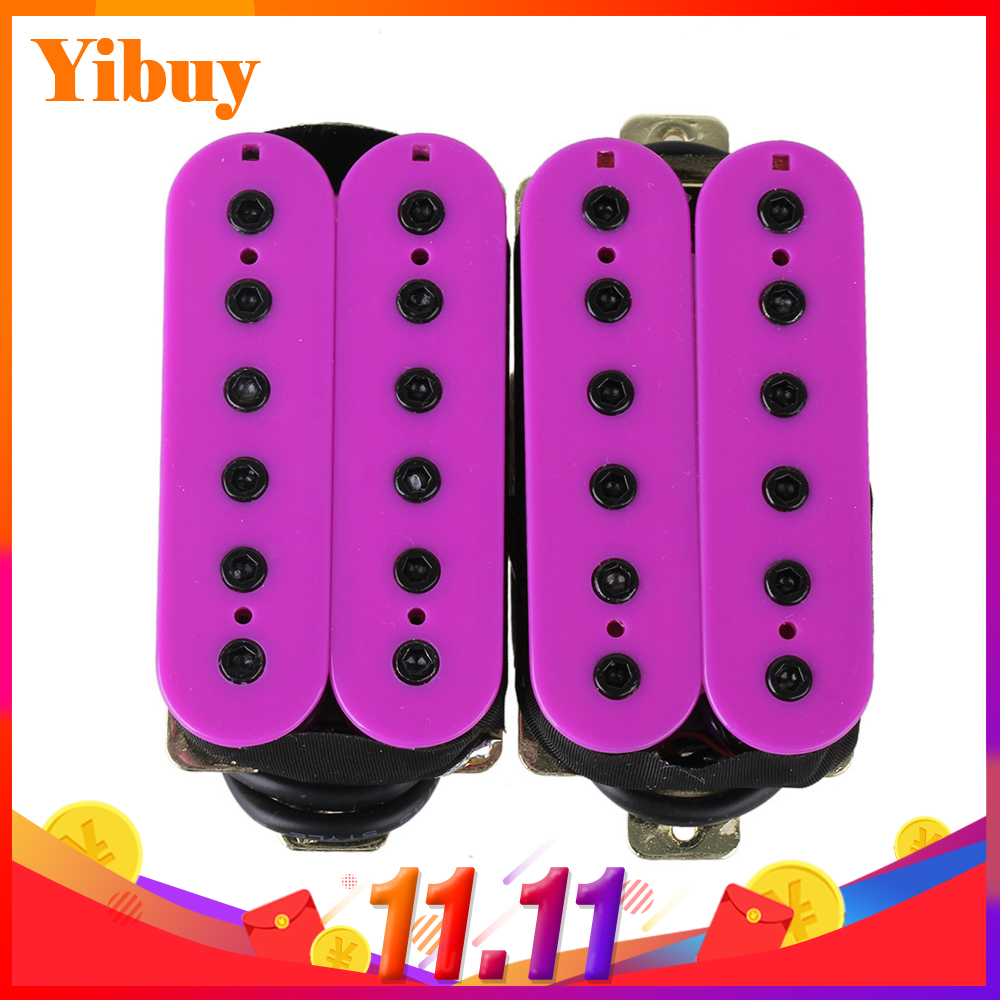 Yibuy High Gain Electric Guitar Humbucker Double Coil Bridge Neck Pickup Purple belcat bass pickup 5 string humbucker double coil pickup guitar parts accessories black