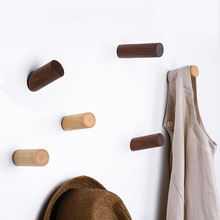 Seamless Sticky Hanger Wall-mounted Door Wooden Hook Holder for Hanging Coat Clothes Hat Towel недорого