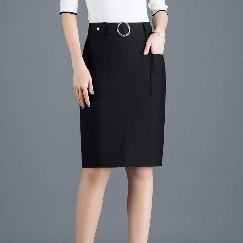 2019 Spring New Arrival Button Ladies Skirts High-waist Back-split Office Skirts Womens With Pockets & Metal Ring Free Shipping