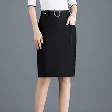 Faldas de botón de cintura alta para mujer, faldas de oficina, con Bolsillos y anillo de Metal, novedad primavera 2020, envío gratis