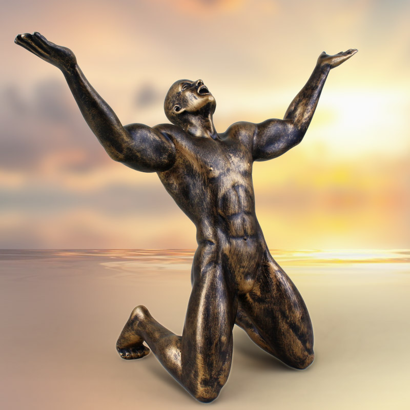 Modern Home Decors Naked Man Shouting Figurines Ornaments -8503