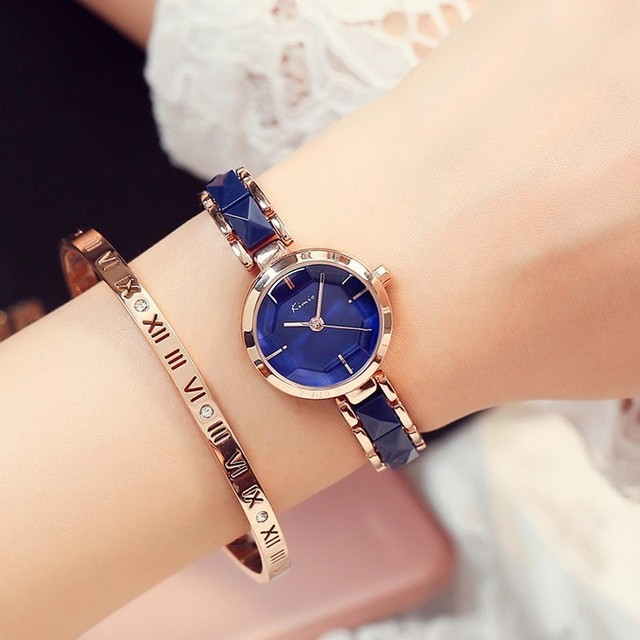 1b237aae349 KIMIO Ouro Rosa Relógios Senhoras Pulseira de Relógio de Forma Das Mulheres  2018 Marca de Luxo