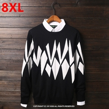 Large size fat people super large code knit tide male 8XL long sleeved cotton nutty winter sweater 9XL 10XL