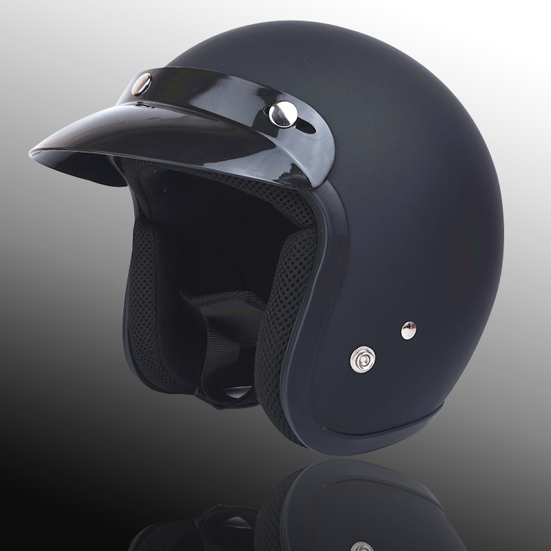 Для взрослых с открытым лицом Jet Casco moto Винтаж moto rcycle шлем moto rbike Ретро шлем скутер 3/4 полушлем capacete de moto cicleta - Цвет: matte black