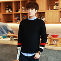 2016New Arrival Spring Autumn Fashion Men Casual Slim Long Sleeved O-neck Pullover Knitted Striped Patchwork Sweater Black/White
