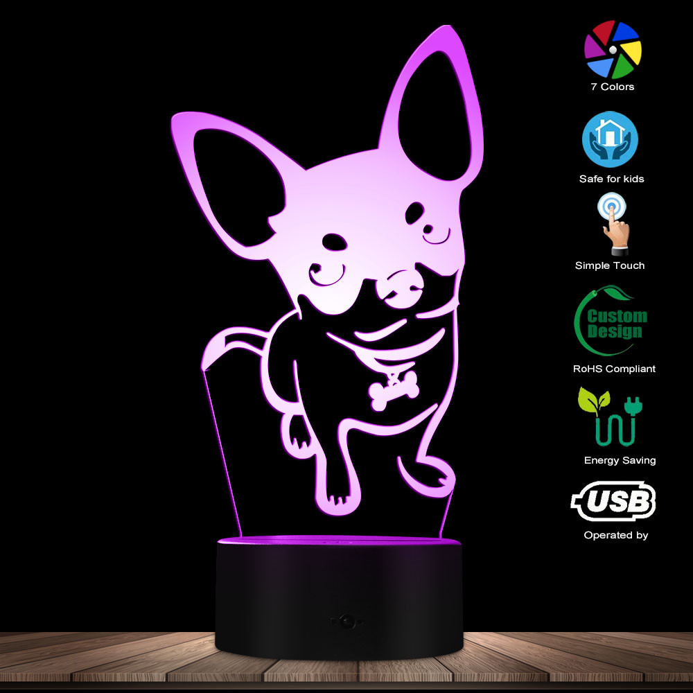 Fashion Chihuahua Dog Breed Glowing LED Lamp Animal Pet Store Decor Puppy Modern LED Night Light Table Lamp With Color Changing