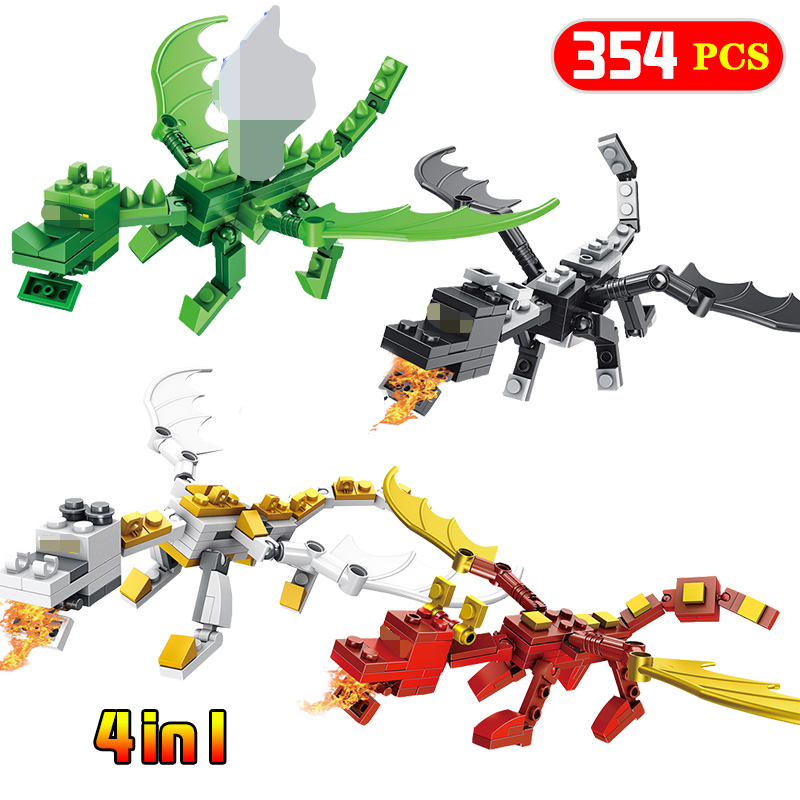 4 In 1 Steve Alex With Dragons Compatible Legoing Minecrafted Figure Model Building Blocks Brick Toys
