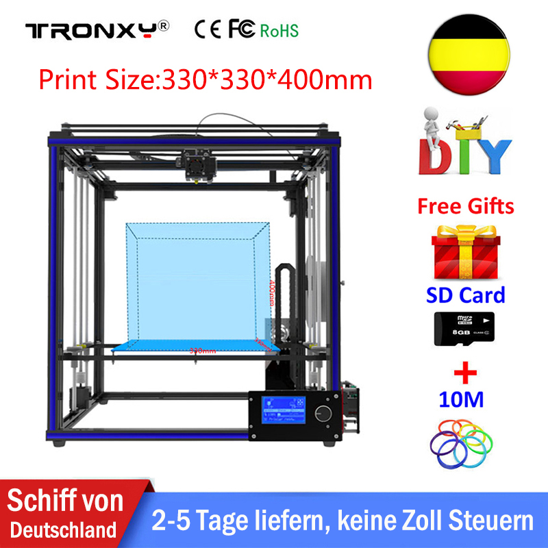 Tronxy X5S 3D Printer Kit DIY Big Size Hotbed Printing 330*330*400mm Aluminium Metal High Quality 3D Printer +Printer filament tronxy x3s 330 x 330 x 420mm fast installation 3d printer