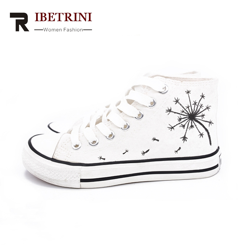 RIBETRINI 2018 Fashion New Vulcanized Hand-painted Shoes Lace Up Wholesale Sneaker Black Woman Shoes Women Plus Size 35-45